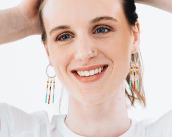 Long Beaded Hoop Earrings, Beaded Hoops, Large Hoops, Colorful Hoops, Statement Earrings, Fringe Earrings, Unique Hoops, Boho Earrings