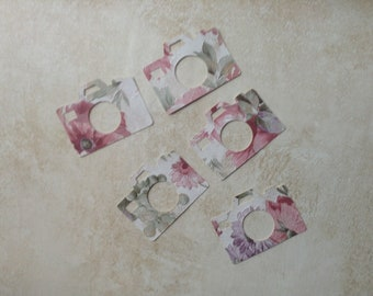Pink and being floral camera - recycled wallpaper - die cut - set of 25