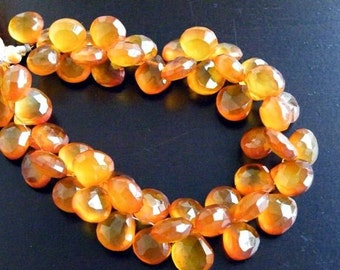 Honey Chalcedony Briolette Gemstone Faceted Heart 7.5 to 8.5mm 26 beads