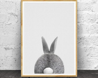 Rabbit Tail Print, Nursery Wall Art, Printable Wall Art, Rabbit Wall Art, Wall Art Prints, Kids Room Wall Art, Woodlands Nursery, Bunny Tail