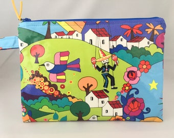 Zippered pouch made in Alexandra Henrys folklorico laminated cotton. travel bag, zippered bag, nappy bag, Make up