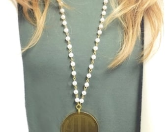 "Monogrammed Necklace, Pearl and Gold, Pearl and SIlver Necklace, engraved, 2"" disc engraved Necklace"