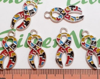6 pcs per pack 25x12mm Enamel Colorful Puzzle Ribbon for Autism Awareness Charm Antique Silver Finish Lead Free Pewter