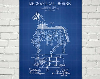 1893 Mechanical Horse Patent Wall Art Poster, Home Decor, Gift Idea
