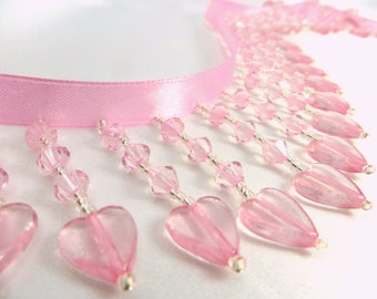 Pale Pink and Silver Heart Straight Medium Beaded Fringe Trim for Valentine's Day, Costume, Lamp or Home Decorator Beaded Trim