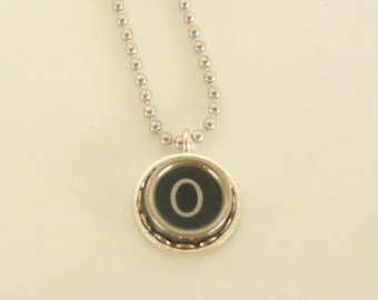 Typewriter Key Necklace -  Letter O - Vintage - Initial Jewelry -  ALL Letters Available - Typography Jewelry