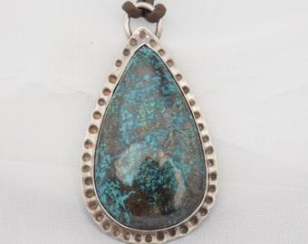 Silver & Chrysocolla Boho Pendant
