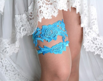 Garter Turquoise, Wedding Garter, Lace Wedding Garter, Wedding Garter Set, Something Blue, Garter Set Blue, Bridal Garter, Blue Garters Teal