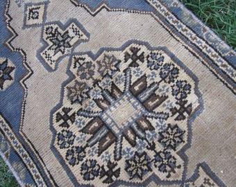 Turkish Rug 1x3 Blue Wool Pile Small Vintage Rug Hand Knotted Semi Antique Area Rug - AVIS0103