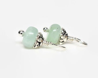 Pair of Chrysoprase Gemstone Charms, Earring Dangles, Pastel Mint Green, Sterling Silver, Interchangeable Dangles, Charms for Hoop Earrings
