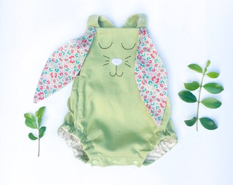 Sage Easter bunny romper with floral ears, newborn gift, cotton,handmade baby outfit, hand embroidered, babyshower gift