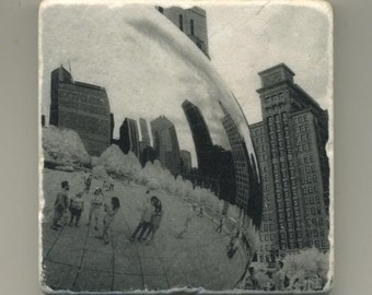 Architectural Reflection on Cloud Gate in Infrared - Original Coaster