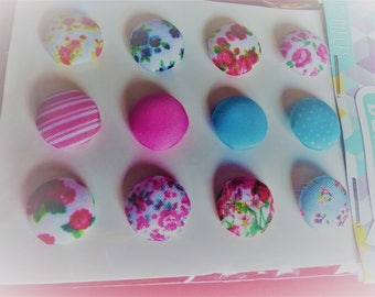12 buttons fancy flower polka dot stripe fabric