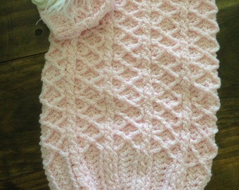 Crochet baby cocoon and hat set - free shipping