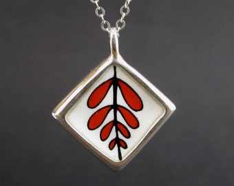 Reversible Silver and Enamel Necklace - Wear 2 Ways - Black, White, and Red Vitreous Enamel and Sterling Silver Pendant