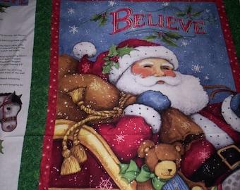 "I Believe in Santa Susan Winget Springs Fabrics 1 panel 36"" x 44"" Santa with gifts teddy bear"