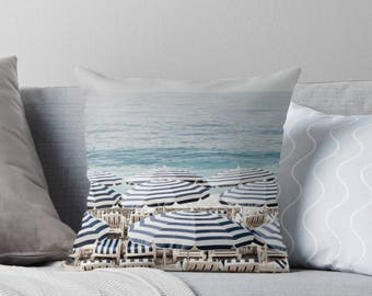 Beach print pillow, throw pillow cover, blue and white pillow, beach house decor, home decor, gift for her, French Rivera