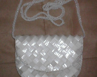 Vintage WHITE Beaded Evening Bag Shoulder Purse