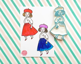 fashion rubber stamp, fashionista stamp, girl with beret, people hand carved stamp for your journals, diy birthday, card making