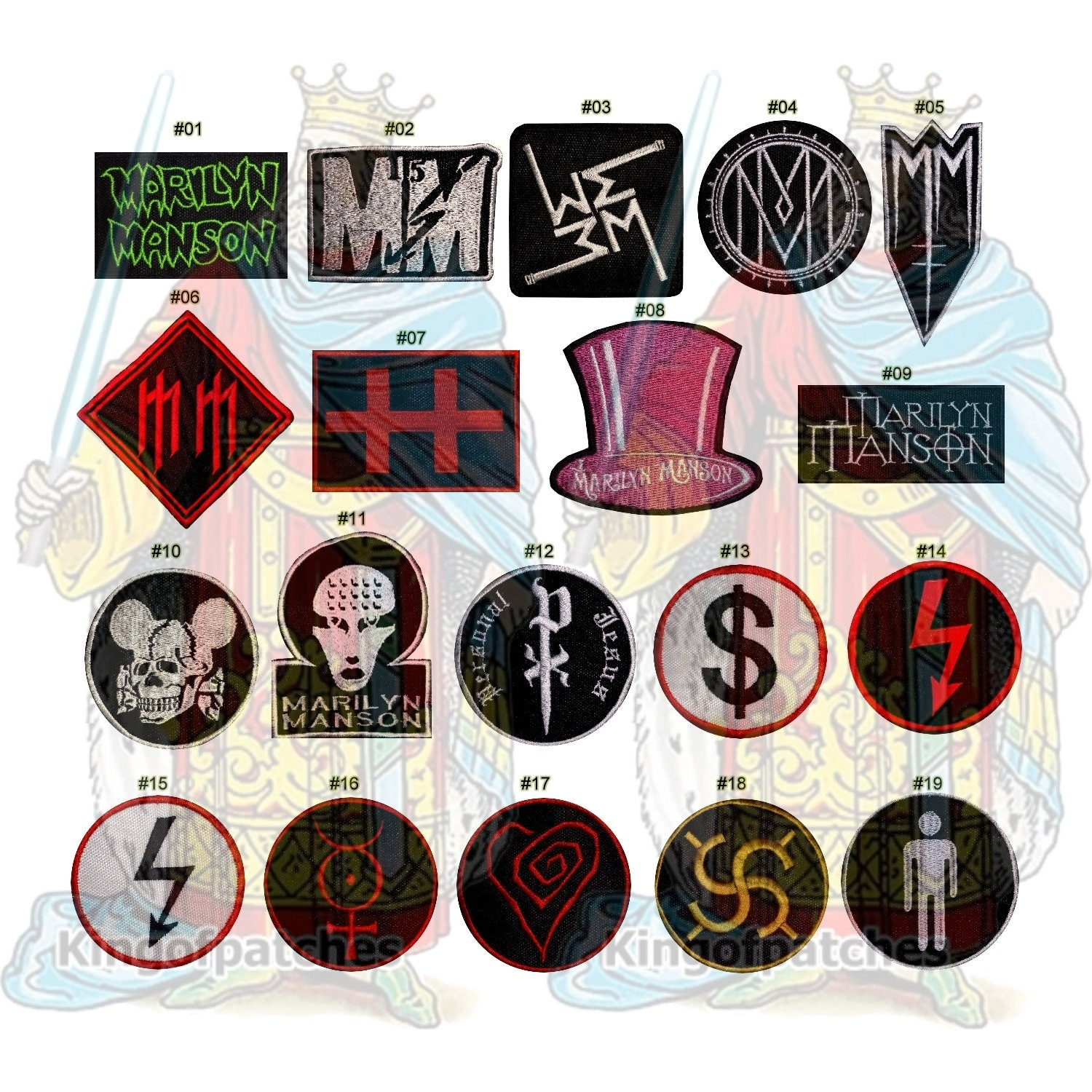 Marilyn manson embroidered patches rock hard metal music album zoom buycottarizona Images