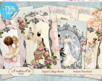"75% OFF SALE Digital Collage Sheet ""Wedding"", Printable Download, Digital cards C076, Wedding Cards, Atc Aceo Jpeg printable digital image"