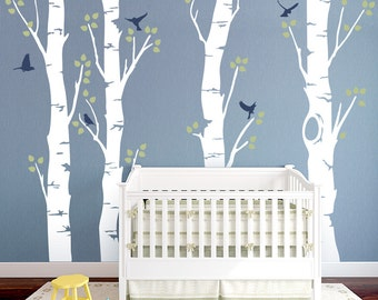 Wide Birch Tree With Birds Vinyl Wall Decal - Birch Forest Wall Decal, Woodland Nursery Theme, Nature Wall Decal, Nursery Tree Sticker