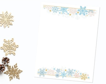 "Pink Blue and Gold Snowflakes 8.5""x11"" Letter Sized Stationery, Instant Download, High Resolution 300 dpi Jpeg and PDF Files, DIY Printable"