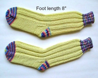 "Socks hand knit . Foot length 8"". Reinforced heel. Slipper socks. Boot socks.  Boot liners.Light yellow color. Ready to ship"