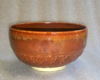 Wheel Thrown Bowl, Tea Bowl or Chawan in a Brown Cappuccino Glaze with Chattered Texture