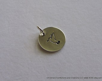 Hand Stamped Humming Bird Charm or Necklace (#1609)
