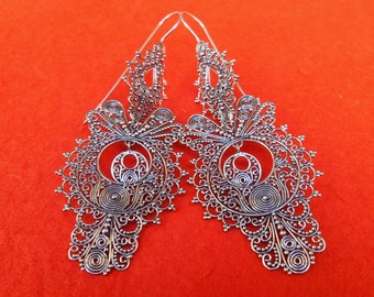 Large Sterling Silver Traditional Dangle Earrings / silver 925 / Bali handmade earrings / 3.25 inches long / (#85Km)