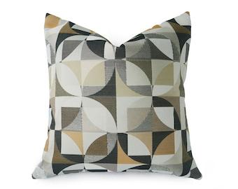 Black Cream Pillow, Gold Black Pillow, Cream Geometric Pillows, Modern Pillows, Graphic Pillows, Cream Black Grey Pillow, 12x18, 18, 20, 22