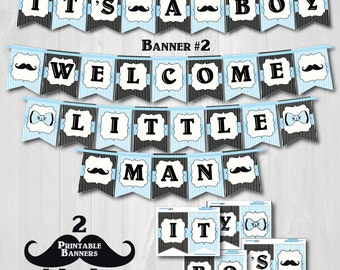 "Printable Little Man Baby Shower Banners-Printable Mustache Baby Shower Banner-""It's A Boy"" and ""Welcome Little Man"" Banners -BABY BLUE"