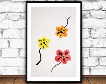 Watercolor Flowers Print, Cute Office Decor, Watercolor Abstract Art, Huge Living Room Print, Flower Art Prints, Flower Prints Wall Art, JPG