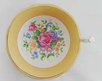 Queen Anne Tea Cup and Saucer with Flowers, Vintage Bone China