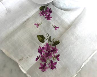 Vintage Floral Embroidered Handkerchief