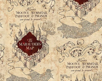 Camelot Fabrics. Harry Potter. Marauder's Map KNIT - Choose your cut. Exclusive!