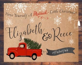 Printable INSTAGRAM Sign, Christmas Wedding, Winter Wedding, Christmas Tree, Little Red Truck, Wedding Hashtag sign, Rustic Wedding