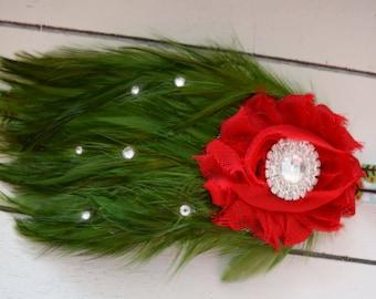 Handcrafted Feather Christmas Headband - Red and Green Christmas Headband - Christmas Tree Headband - Baby Girl Headband - Apple Headband