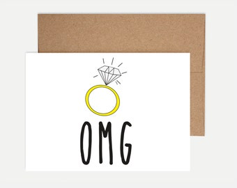 Funny Engagement Card - OMG!