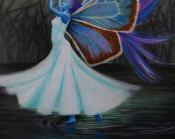 Dance of the Undine:  A painting of a blue water Fairy dancing