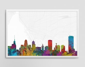 Buffalo New York Cityscape and Street Map Watercolor Art Print Office or Home Wall Decor