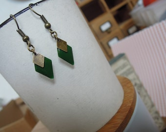 Earrings dangle green tree/diamond Rhombus bronze/made handmade/gifts for women
