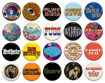 20x 60's Psychedelic Bands Artists [A-I] 25mm / 1 Inch D Pin Button Badges
