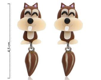 1 pair earrings 3D cute squirrel in Fimo