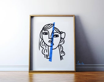 Portrait in the mirror. Persona. Modern art high quality giclée print. Illustration painting. 48x60cm wall art poster. Archival paper.