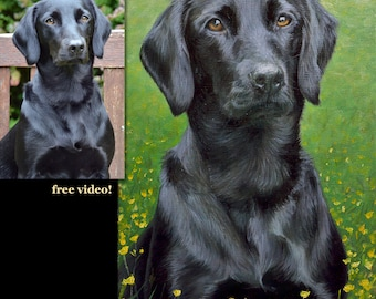 Pet portrait custom, dog portrait, Labrador - oil painting on stretched canvas. ***Lowest price is 50% DEPOSIT price***