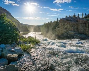 Rapid: Glacier National Park Golden Hour River Rapid Nature Landscape Photograph