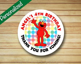 40 PRINTED Elmo Birthday Party Labels Sesame Street Rounded Stickers Personalized Elmo Polka Dots label circle Cupcake Favor Bag Label