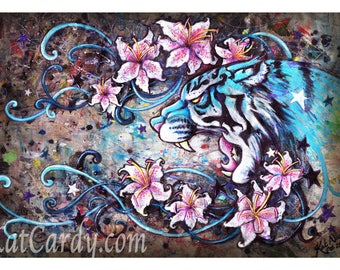 Lily Tiger - A3 Print, Signed & Numbered - blue tiger pink roaring stargazer lilies